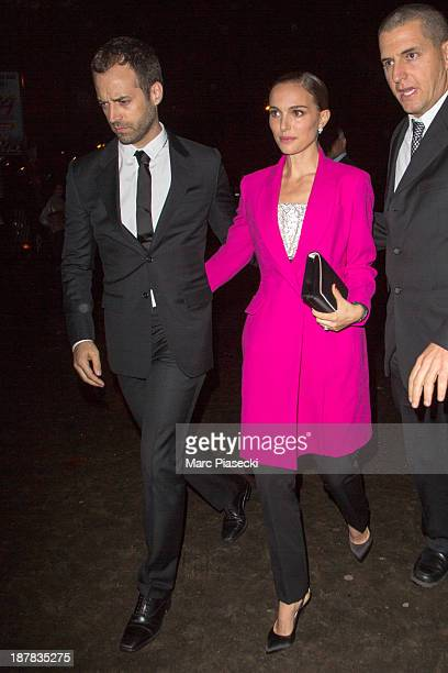 Actress Natalie Portman and Benjamin Millepied attend the 'Esprit Dior Miss Dior' exhibition opening at Grand Palais on November 12 2013 in Paris...
