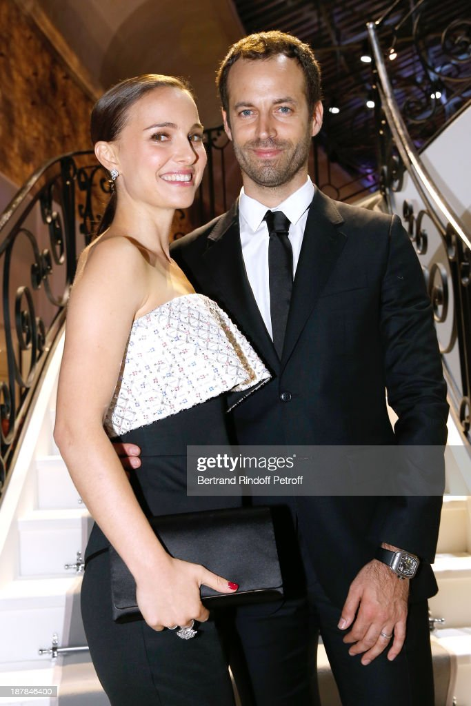 Actress Natalie Portman and Choreographer Benjamin Millepied attend the 'Esprit Dior, Miss Dior' Exhibition Opening Cocktail event on November 12, 2013 in Paris, France.