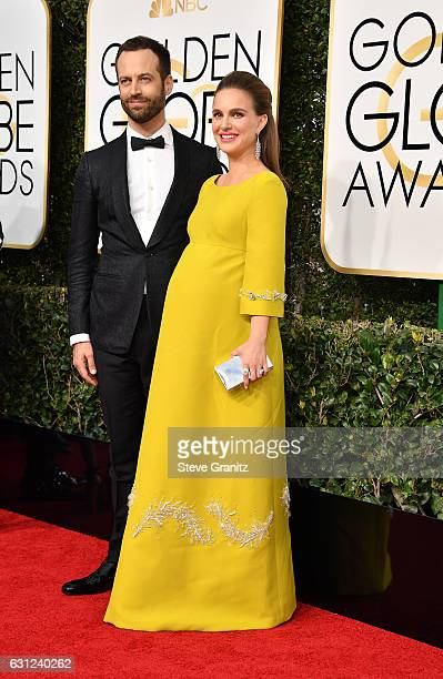 Actress Natalie Portman and choreographer Benjamin Millepied attend the 74th Annual Golden Globe Awards at The Beverly Hilton Hotel on January 8 2017...