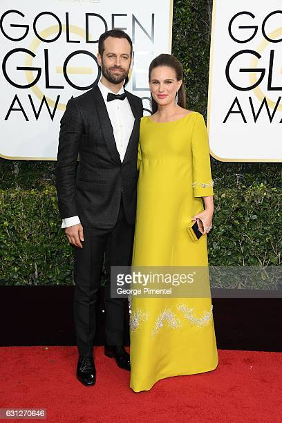 Actress Natalie Portman and choreographer Benjamin Millepied attend the 74th Annual Golden Globe Awards held at The Beverly Hilton Hotel on January 8...