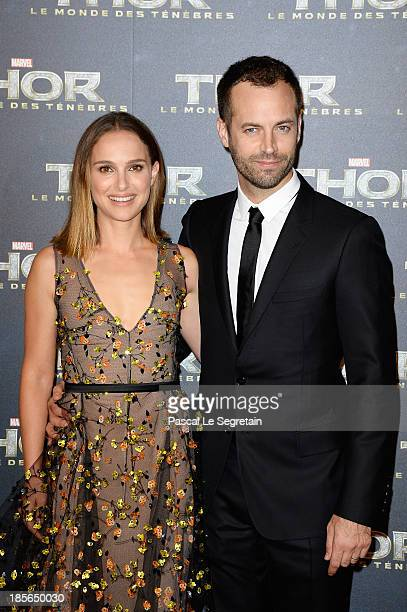 Actress Natalie Portman and her husband Benjamin Millepied attend 'Thor The Dark World' Premiere at Le Grand Rex on October 23 2013 in Paris France