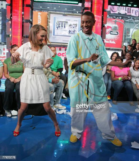 Actress Natalie Portman and recording artist Soulja Boy appear onstage during MTV's Total Request Live at the MTV Times Square Studios on November 12...
