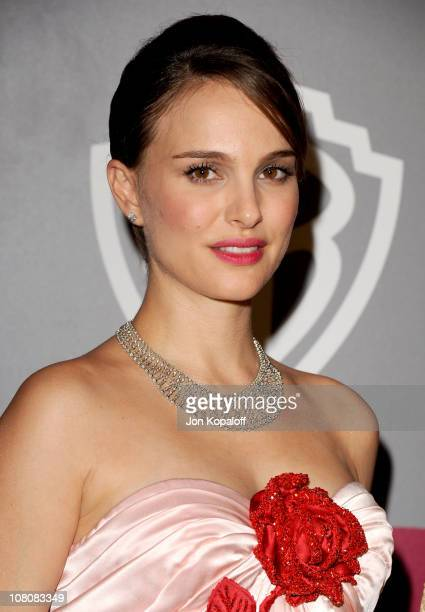 Actress Natalie Portman arrives at the 2011 InStyle/Warner Brothers Golden Globes Party at The Beverly Hilton hotel on January 16 2011 in Beverly...