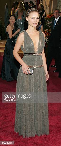 Actress Natalie Portman arrives at the 77th Annual Academy Awards at the Kodak Theater on February 27 2005 in Hollywood California