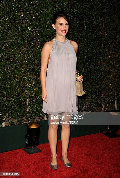 Actress Natalie Portman arrives at the Fox Searchlight 2011 Golden Globe Awards Party held at The Beverly Hilton hotel on January 16 2011 in Beverly...