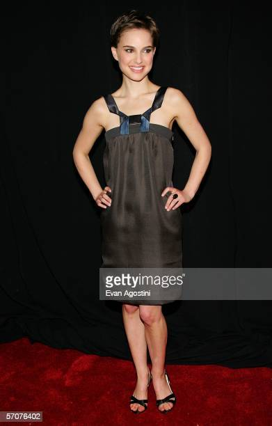 Actress Natalie Portman arrives at the Warner Bros premiere of V for Vendetta at the Rose Theater on March 13 2006 in New York City