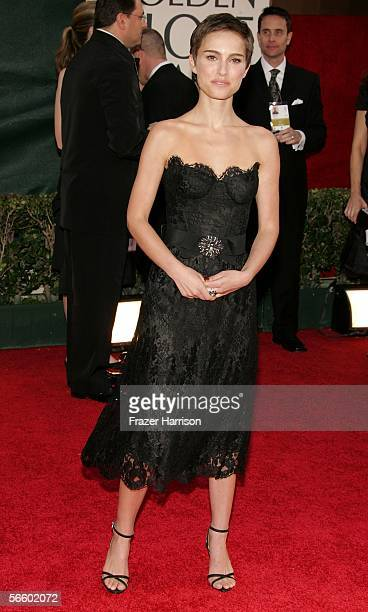 Actress Natalie Portman arrives to the 63rd Annual Golden Globe Awards at the Beverly Hilton on January 16 2006 in Beverly Hills California