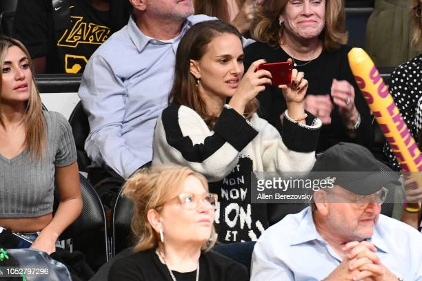 Actress Natalie Portman attends a basketball game between the Los Angeles Lakers and the San Antonio Spurs at Staples Center on October 22 2018 in...