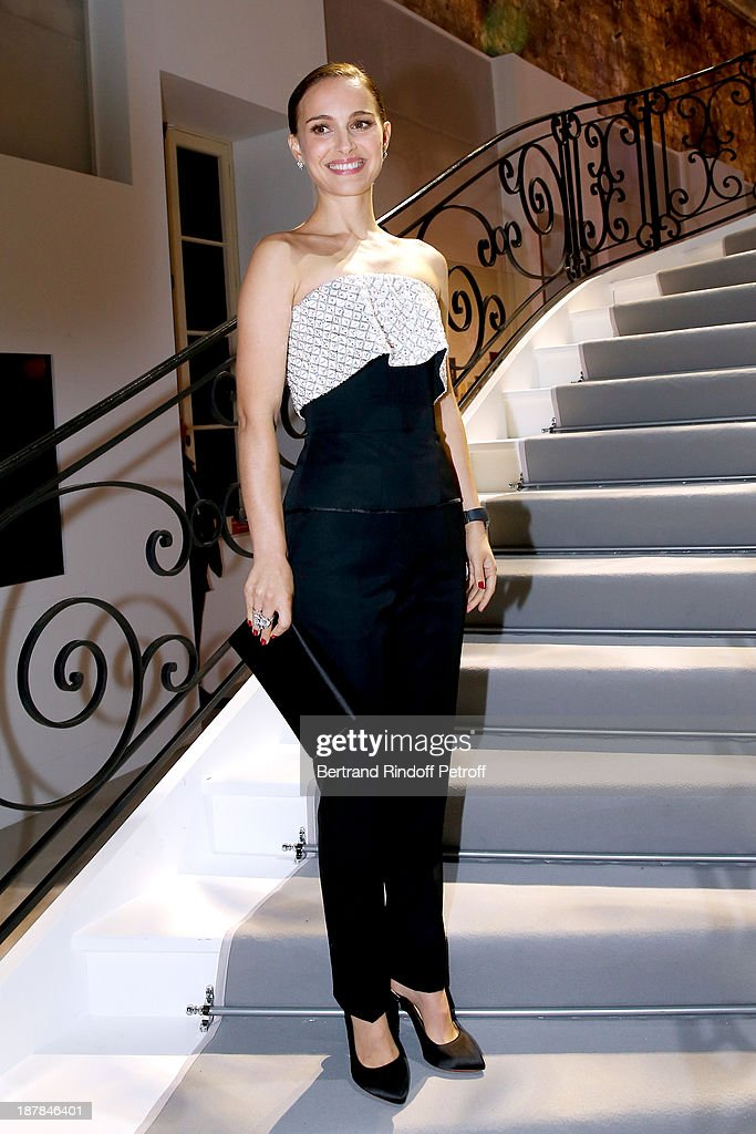 Actress Natalie Portman attends the 'Esprit Dior, Miss Dior' Exhibition Opening Cocktail event on November 12, 2013 in Paris, France.