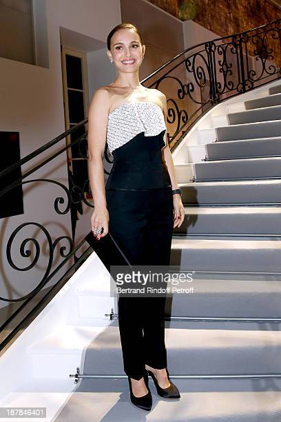 Actress Natalie Portman attends the 'Esprit Dior Miss Dior' Exhibition Opening Cocktail event on November 12 2013 in Paris France