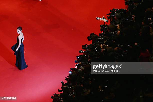 Actress Natalie Portman attends the 'Knight of Cups' premiere during the 65th Berlinale International Film Festival at Berlinale Palace on February...