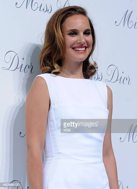 Actress Natalie Portman attends the Miss Dior exhibition at Shanghai Urban Sculpture Center on June 19 2014 in Shanghai China