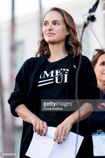 Actress Natalie Portman attends the women's march Los Angeles on January 20 2018 in Los Angeles California