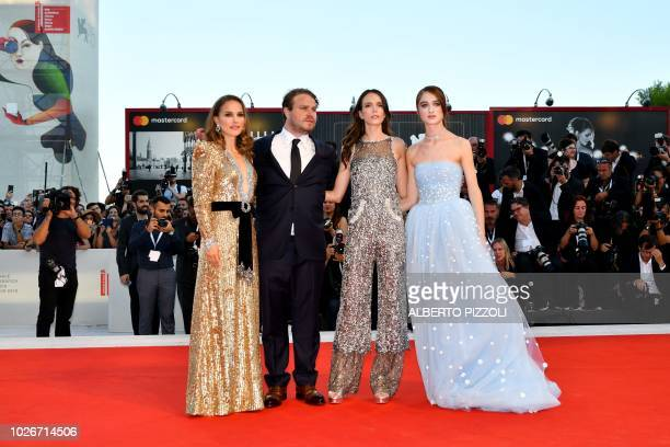 Actress Natalie Portman director Brady Corbet actress Stacy Martin and actress Raffey Cassidy arrive for the premiere of the film Vox Lux presented...