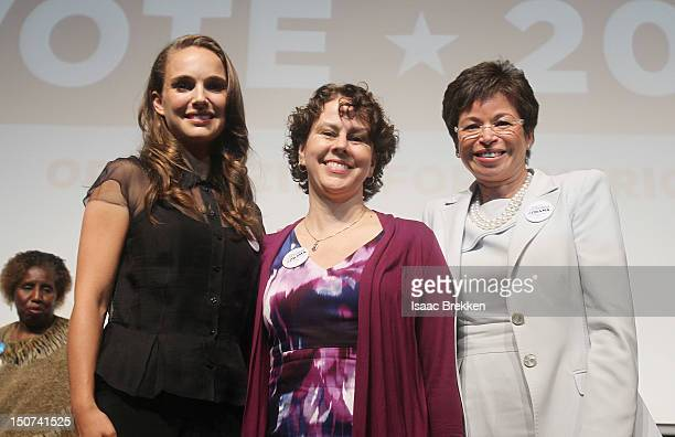 Actress Natalie Portman Director of the White House Domestic Policy Council Cecilia Munoz and the President's Senior Advisor Valerie Jarrett attend...
