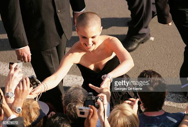 Actress Natalie Portman greets fans as she arrives to a screening of ' Star War III Revenge of the Sith' at the Grand Theatre during the 58th...