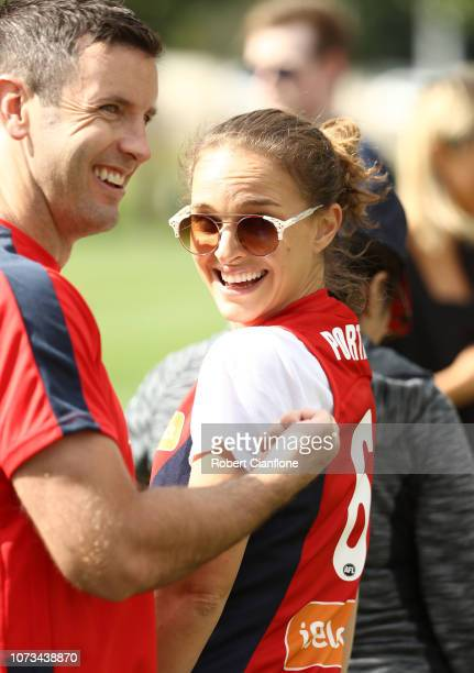 Actress Natalie Portman is seen during a Melbourne Demons AFL training session at Gosch's Paddock on November 28 2018 in Melbourne Australia