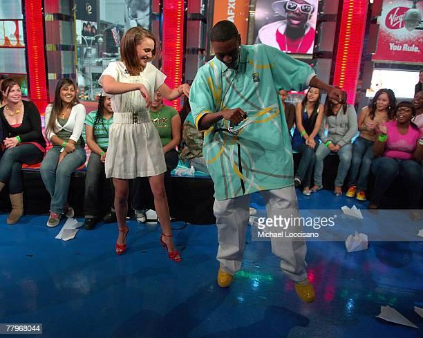 Actress Natalie Portman is taught The Soulj Boy damce by rapper Soulja Boy on MTV's TRL at MTV's Times Square Studio in New York City on November 12...