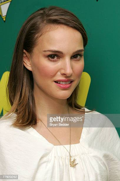 Actress Natalie Portman poses backstage during MTV's Total Request Live at the MTV Times Square Studios on November 12 2007 in New York City