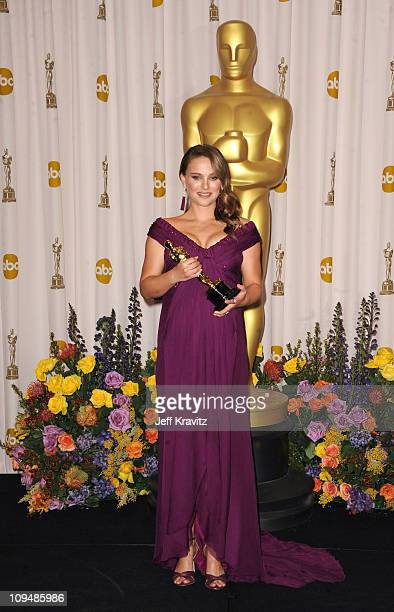 Actress Natalie Portman poses in the press room during the 83rd Annual Academy Awards held at the Kodak Theatre on February 27 2011 in Los Angeles...