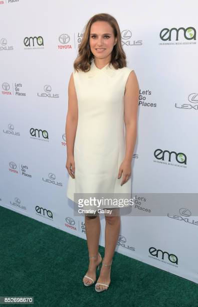 Actress Natalie Portman poses with the Toyora Mirai the zero emissions car during the 2017 EMA Awards Presented by Toyota on September 23 2017 in...