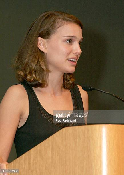 Actress Natalie Portman speaks at the FINCA West Coast College Tour at UCLA on October 3 2007 in Los Angeles California