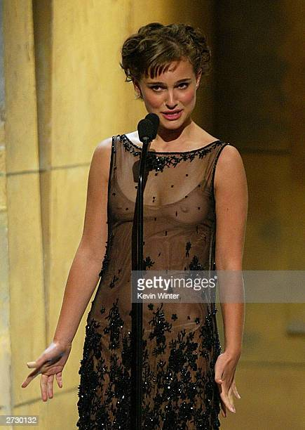 Actress Natalie Portman speaks on stage during the 2003 Presentation of the 18th Annual American Cinematheque Award honoring Nicole Kidman at the...