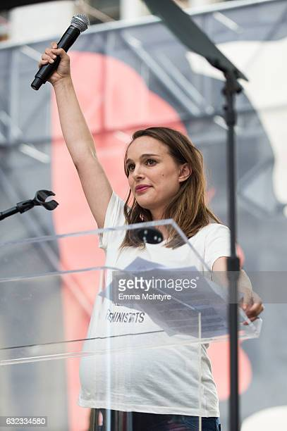 Actress Natalie Portman speaks onstage at the women's march in Los Angeles on January 21 2017 in Los Angeles California