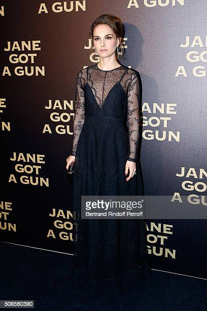Actress Natalie Portman wearing a Dior Dress and Cartier Jewelry attends the 'Jane got a Gun' Paris Premiere at Cinema UGC Normandie on January 24...
