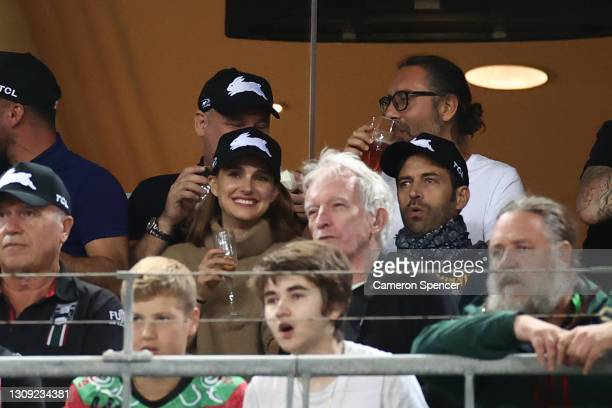 Actress Natalie Portman with her husband Benjamin Millepied watch the round three NRL match between the South Sydney Rabbitohs and the Sydney...