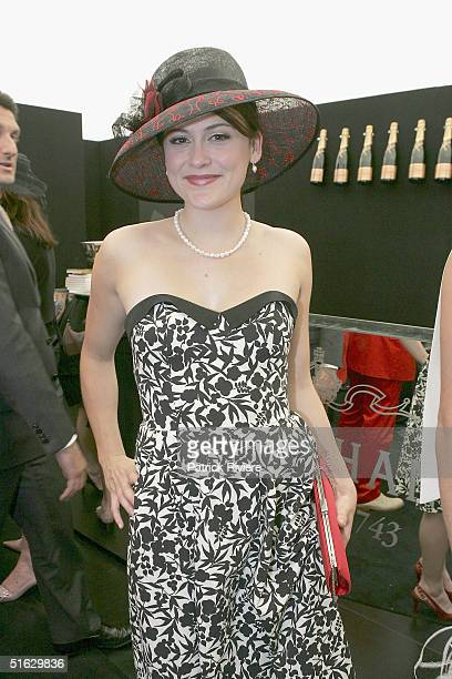Actress Natalie Saleeba attends the Melbourne Cup Carnival's Derby Day in the Moet et Chandon marquee at Flemington October 30 2004 in Sydney...