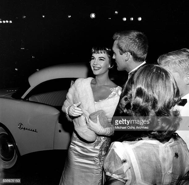 Actress Natalie Wood and actor Dennis Hopper attend the premiere of 'Rebel without a Cause' in Los AngelesCA