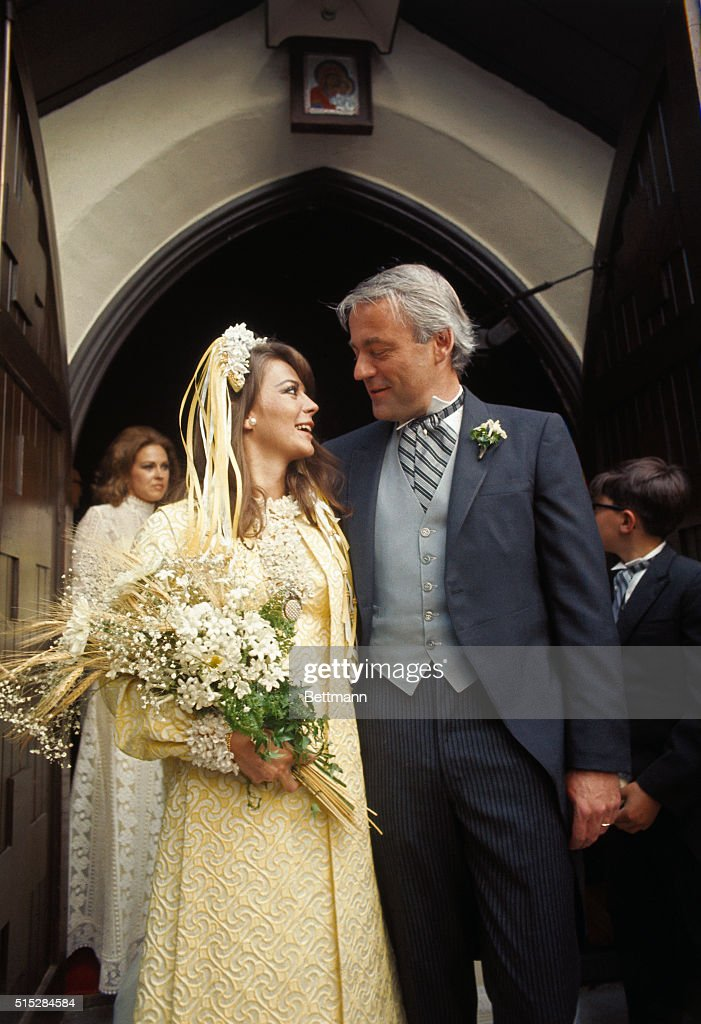 Natalie Wood and her New Husband Standing at Front of Church : News Photo
