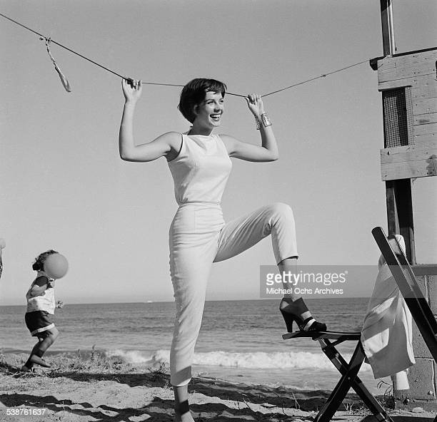 Actress Natalie Wood poses during the Thalians Beach Ball in MalibuCalifornia