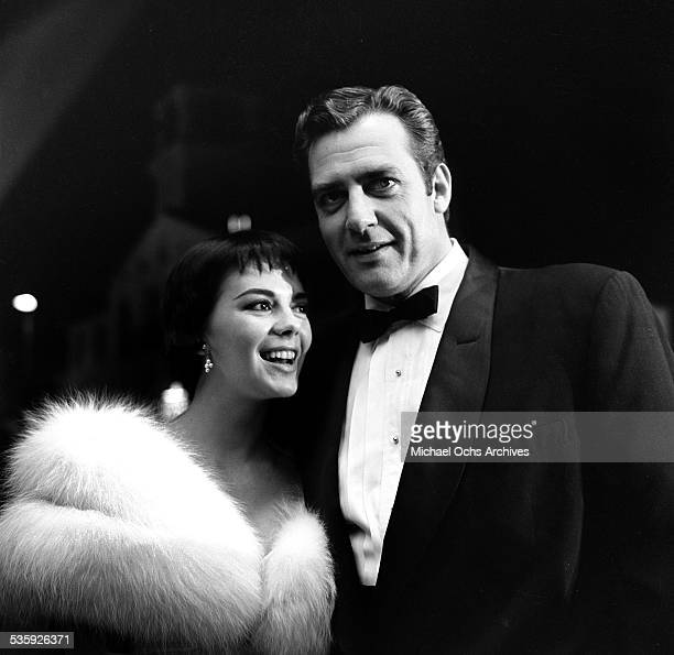 Actress Natalie Wood with actor Raymond Burr attend the premiere of 'A Cry in the Night' in Los AngelesCA