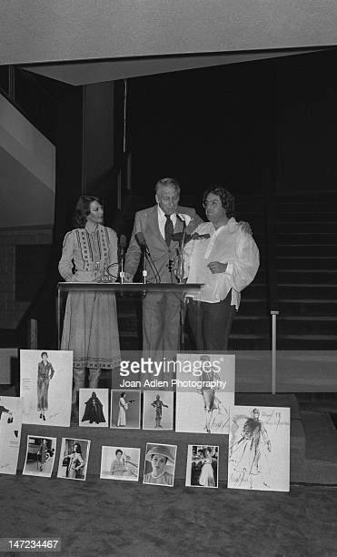 Actress Natalie Wood with Producer Howard W Koch and Writer Producer Allan Carr at the Oscarcast rehearsal for the costume parade she narrates at the...