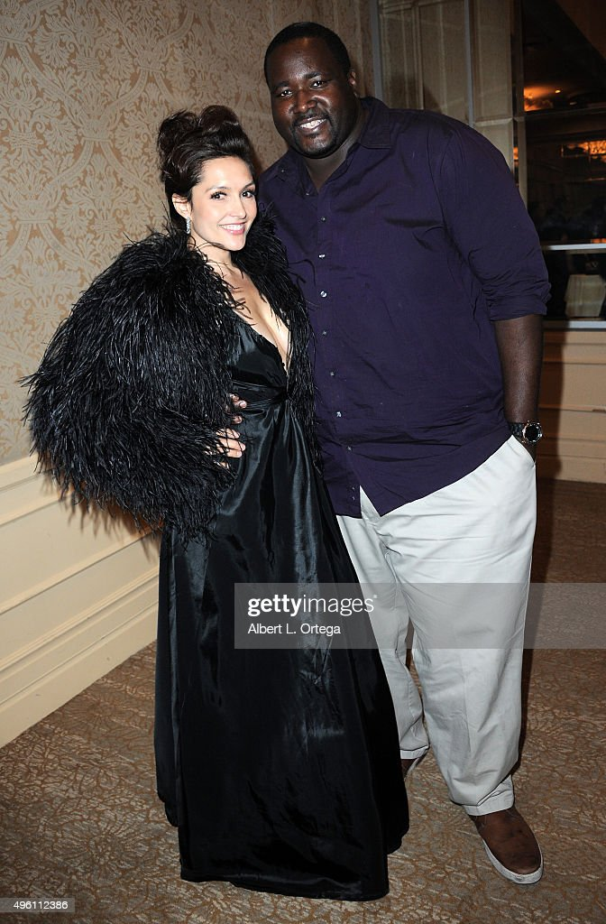 Actress Nataliya Prieto and actor Quinton Aaron attend 'Reel Haute' In Hollywood International Couture Fashion Show held at The Beverly Hilton Hotel on November 6, 2015 in Beverly Hills, California.