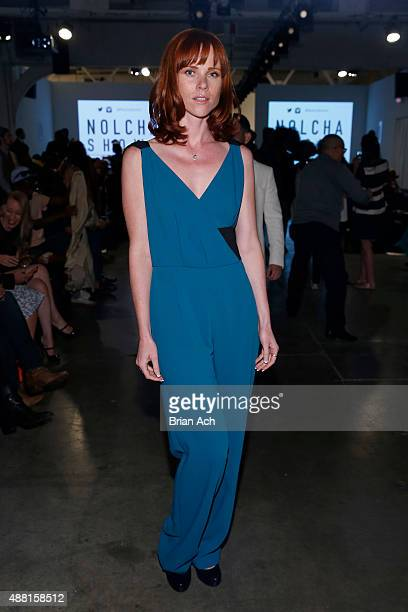 Actress Natalya Rudakova poses at Nolcha Shows During New York Fashion Week Spring/Summer 2016 Collections at Pier 59 on September 13 2015 in New...