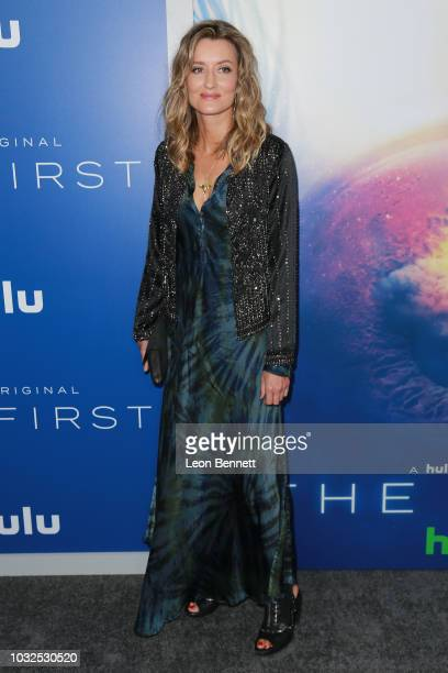 """Actress Natascha McElhone attends the Premiere Of Hulu's """"The First"""" at California Science Center on September 12, 2018 in Los Angeles, California."""