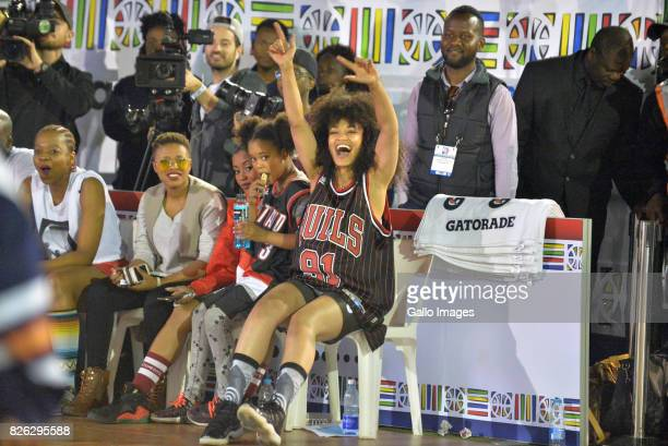 TV Actress Natasha and Pearl Thusi at the NBA Africa Celebrity Basketball Game on August 03 2017 in Johannesburg South Africa The NBA Africa Game...