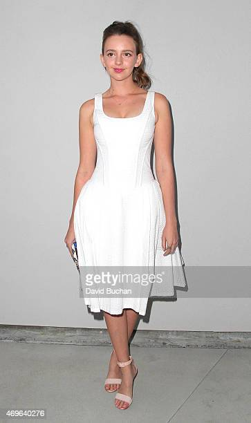Actress Natasha Bassett attends the Wolk Morais debut resort/prefall collection fashion show at Michael Kohn Gallery on April 13 2015 in Los Angeles...