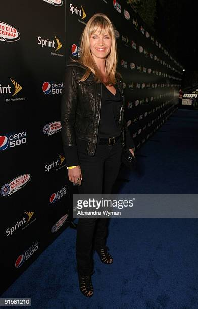 Actress Natasha Henstridge arrives at The Pepsi 500 Auto Club Speedway Celebration held at the Roosevelt Hotel on October 7 2009 in Hollywood...