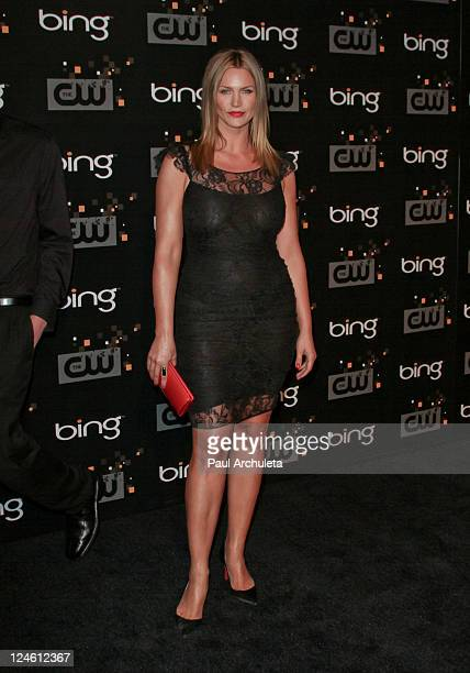 Actress Natasha Henstridge arrives at the The CW premiere party at Warner Bros. Studios on September 10, 2011 in Burbank, California.