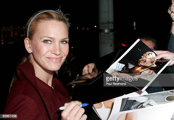 Actress Natasha Henstridge signs autographs at Deborah Anderson's Book Launch Party for Paperthin at MinottiLA on December 10 2008 in Los Angeles...