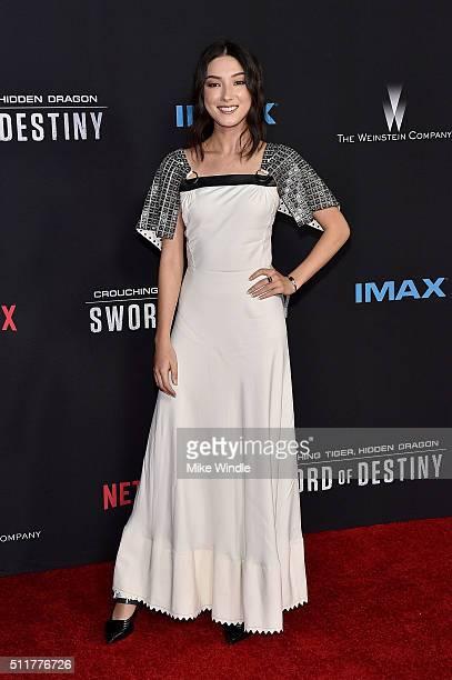 Actress Natasha Liu Bordizzo attends the premiere of Netflix's Crouching Tiger Hidden Dragon Sword Of Destiny at AMC Universal City Walk on February...