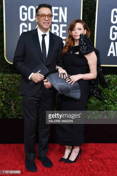 Actress Natasha Lyonne and partner US actor Fred Armisen arrives for the 77th annual Golden Globe Awards on January 5 at The Beverly Hilton hotel in...