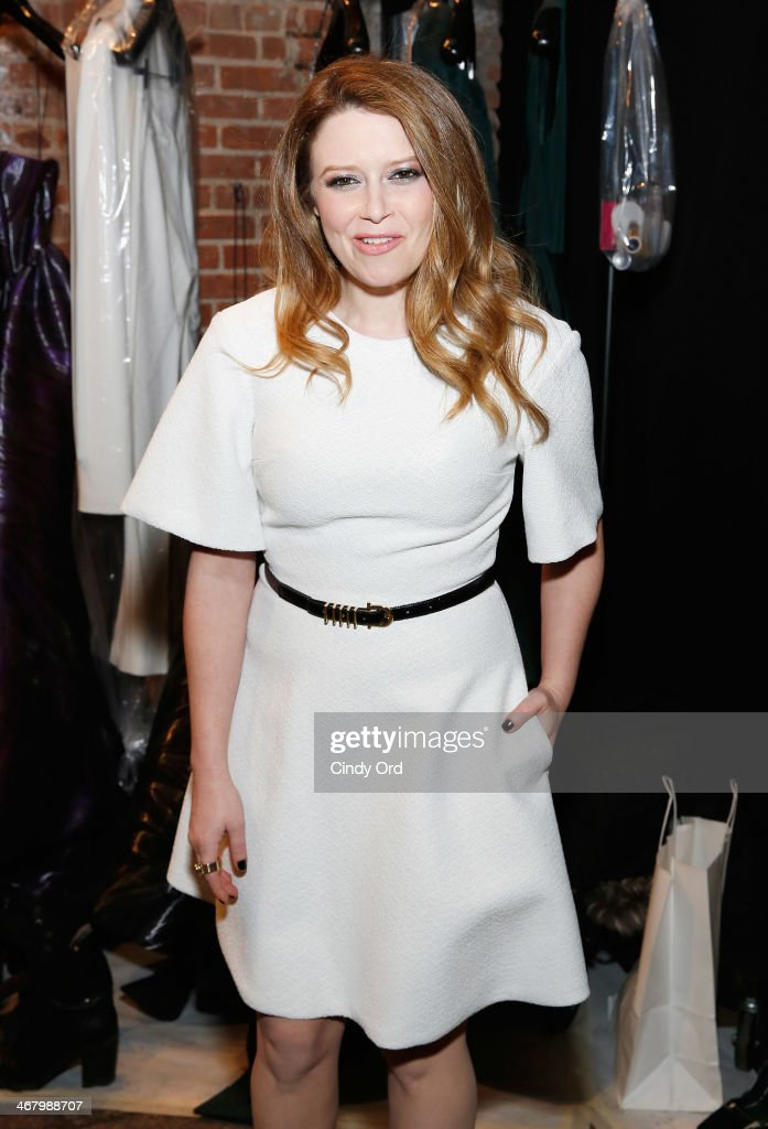 Actress Natasha Lyonne poses backstage at the Christian Siriano fashion show during the Mercedes-Benz Fashion Week Fall 2014 at Eyebeam on February 8, 2014 in New York City.