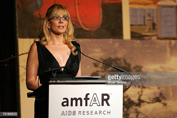 Actress Natasha Richardson speaks at the AmFAR Gala honoring the work of John Demsey and Whoopi Goldberg at Cipriani 42nd Street January 31 2007 in...