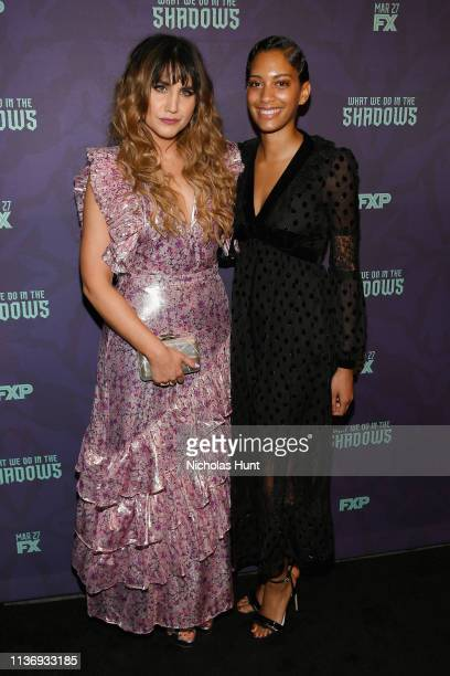 """Actress Natasia Demetriou and Writer Stefani Robinson attend the """"What We Do In The Shadows"""" New York Premiere at Metrograph on March 19, 2019 in New..."""
