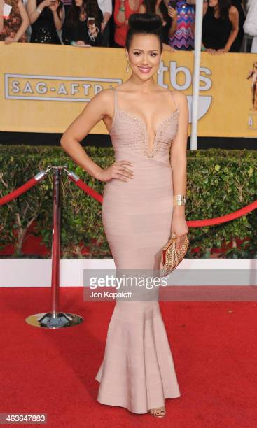 Actress Nathalie Emmanuel arrives at the 20th Annual Screen Actors Guild Awards at The Shrine Auditorium on January 18 2014 in Los Angeles California